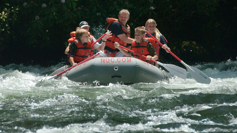 Family rafting down the Nantahala